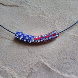 NWOT - Patriotic Tube Pendant with Crystals